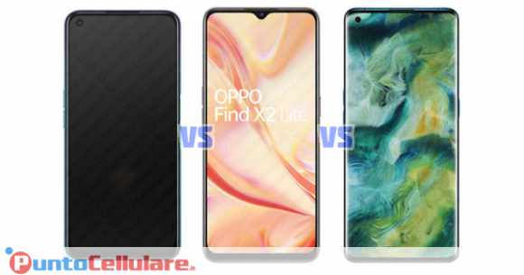 Confronto Oppo A72 VS Find X2 Lite VS Find X2 Pro